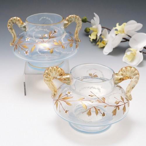 Pair of Signed Fritz Heckert Opaline Gilded Vases c 1900