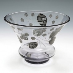 Black Enamelled and Cut Glass Bowl c1960