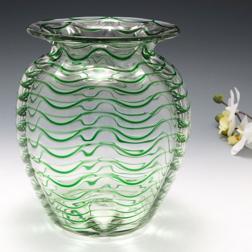 A Stevens and Williams Green Trailed Vase Optically Moulded c1930