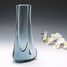 "A Whitefriars Geoffrey Baxter "" Leg Of Lamb "" Artic Blue Vase Pattern 9559 c1960"