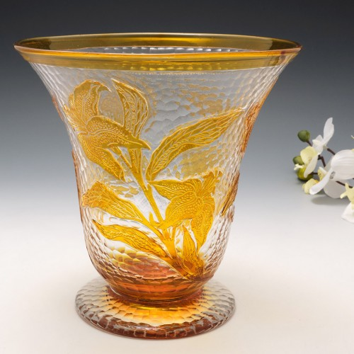 Signed Richardson Rich Cameo Glass Vase c1920