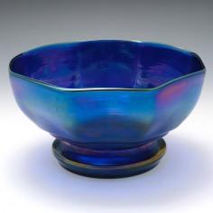 A Blue  Loetz Octagonal Irridescent Bowl c1900