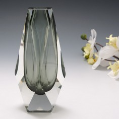 A Mandruzzato Pewter Sommerso Facet Cut Geometric Vase c1970