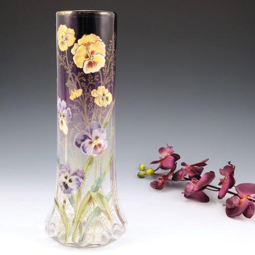 Tall Legras Mont Joye Enamelled Vase c1910