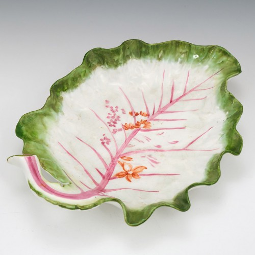 Chelsea Porcelain Red Anchor Period Leaf Dish c1756