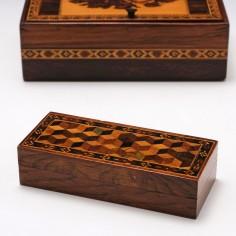 Tunbridge Ware Box With Perspective Cube Design c1840