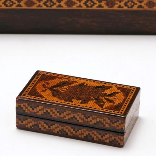 Tunbridge Ware Marquetry Pin Box c1850