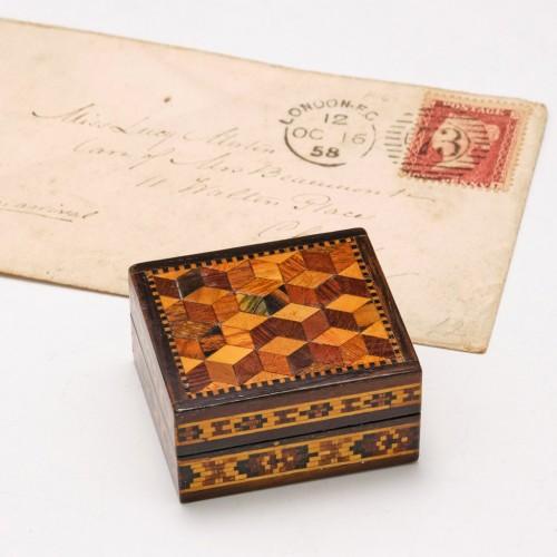 Tunbridge Ware Stamp Box c1840