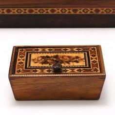 Tunbridge Ware Marquetry Trinket Box With Hinged Lid c1840