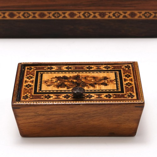 Tunbridge Ware Marquetry Trinket Box With Hinged Lid c1840