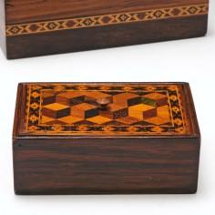 Tunbridge Ware Rosewood Trinket Box c1860