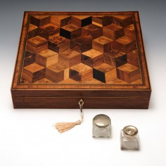 A Fine Tunbridge Ware  Perspective Cubes Writing Slope c1825