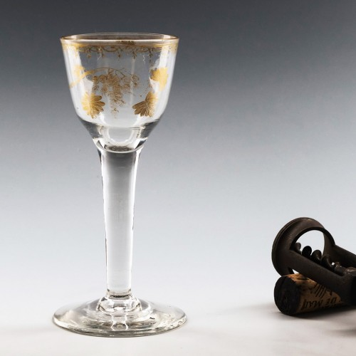 Gilded Plain Stem Wine Glass c1750