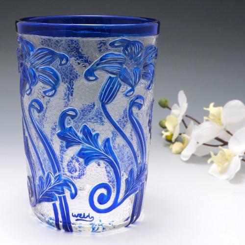Webb Blue Cameo Glass Vase c1933