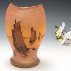 A Signed Legras Sunset Landscape Vase c1900