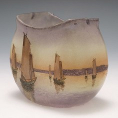 A Legras Vase Depicting Sailing Boats c1900