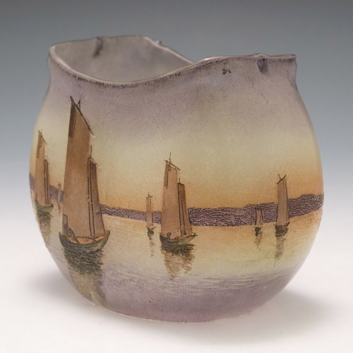 A Legras Vase Depicting Sailing Boats c1900