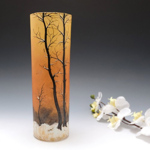 A Tall Signed Legras Winter Landscape Vase c1920