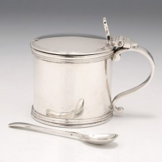 Sterling Silver Drum Mustard  And Spoon London 1935