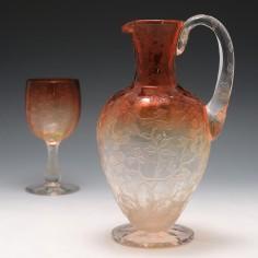 Rare Thomas Webb Peach Cameo Glass Jug c1890