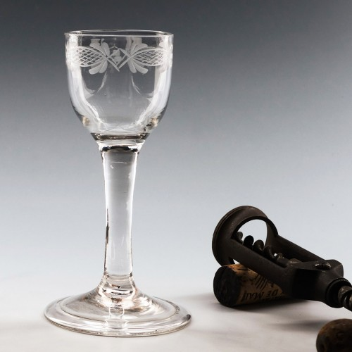 Neoclassical Engraved Georgian Wine Glass 1745-75