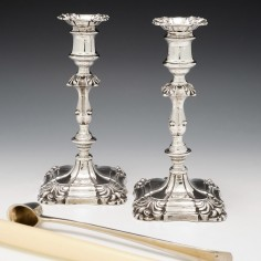 Pair of Cast Victorian Sterling Silver Candlesticks 1859