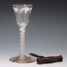 Beilby Enamelled Opaque Twist Wine Glass c1765