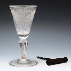 Engraved Square Stem Wine Glass c1730
