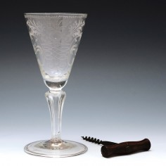 Rare Engraved Ten Rib Pedestal Stem Wine Glass c1750