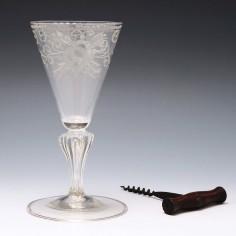 Rococo Engraved Pedestal Stem Wine Glass c1750