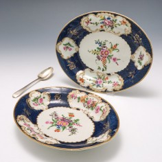 Reserved A. B   Pair of First Period Worcester Blue Scale Dishes c1770