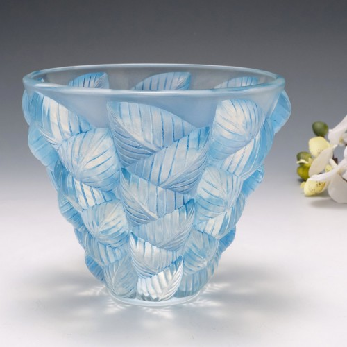A Blue Stained Rene Lalique Moissac Vase Designed 1927