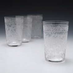 Set of Four Machine Engraved Victorian Whisky Tumblers c1895