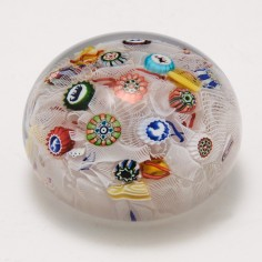 """Rare Dated Baccarat """"B 1847"""" Scattered Millefiori with Gridel Canes Paperweight"""