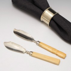 Two Georgian Sterling Silver Butter Knives Birmingham 1817