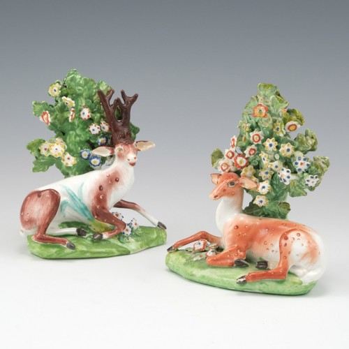A Pair of Derby Porcelain Figures of a Reclining Stag and Doe 1765-70