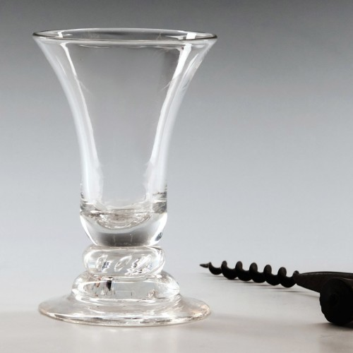 Georgian Domed Foot Dram Glass With Air Beaded Knop c1750