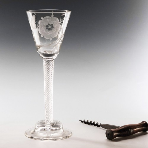 Jacobite Engraved Domed Foot Wine Glass c1745 - Engraver A