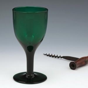 An English Green Wine Glass c1800