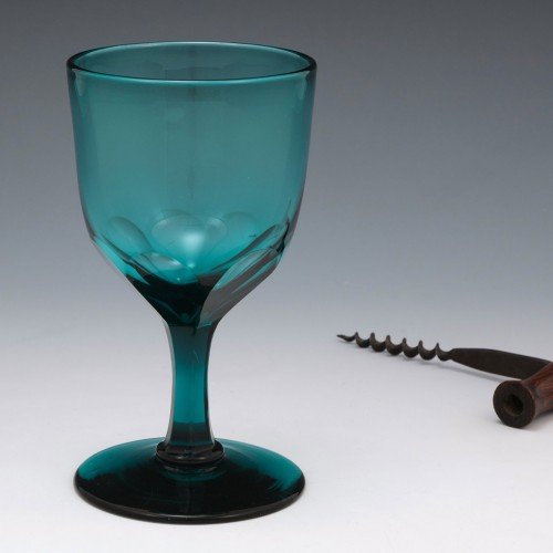 Teal Blue Wine Glass c1840