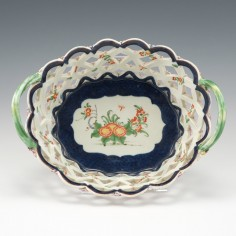 A Worcester First Period Porcelain Oval Pierced Basket