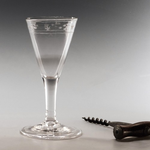 Engraved Georgian Gin Glass c1750
