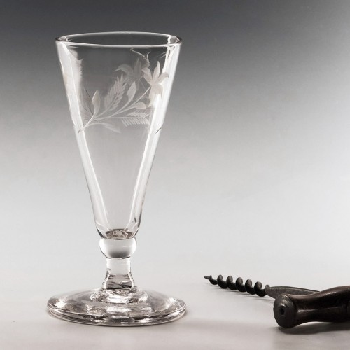 A Georgian Ale Glass  With Rare Engraving c1780