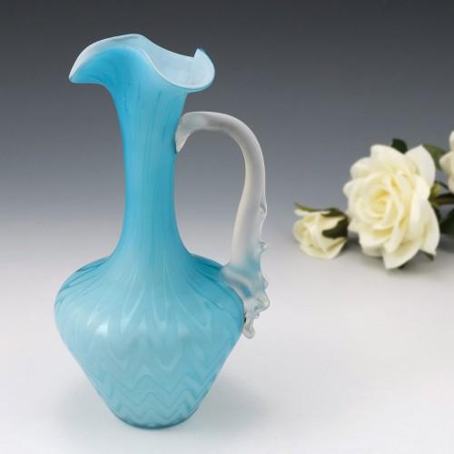Baby Blue Satin Glass Jug Thomas Webb c1885