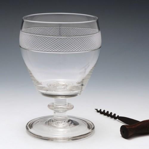 Engraved Georgian Glass Rummer c1820