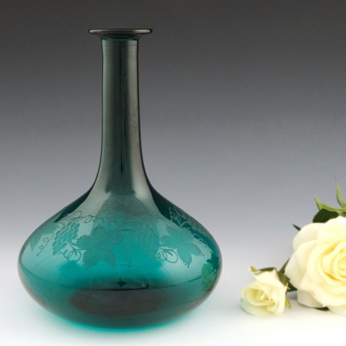 Engraved Victorian Green Mell Decanter c1850