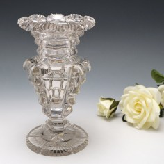 A Fine Cut And Polished Vase With Fan Cut Rim c1880