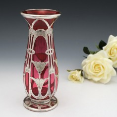 A Silver Overlay Cranberry Glass Vase c1895