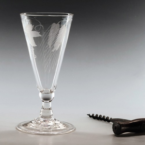 Engraved Georgian Ale Glass Folded Foot c1750