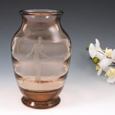 An Elis Berg For Kosta Glasbruk Art Deco Engraved Vase c1930